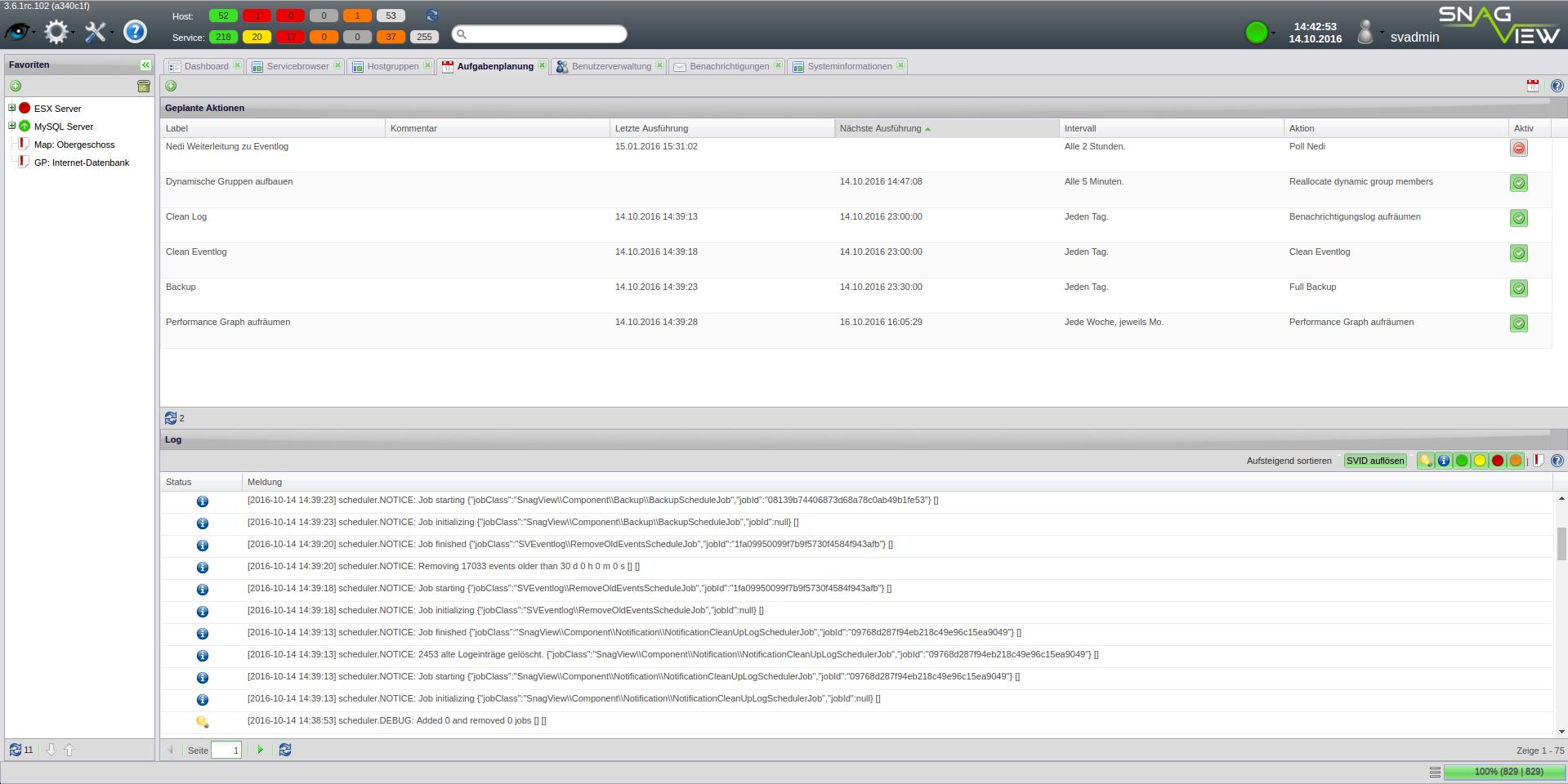 modules snag view geplante aufgaben und log uumlbersicht